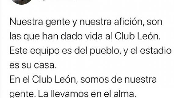 Tweet del Presidente del Club León.